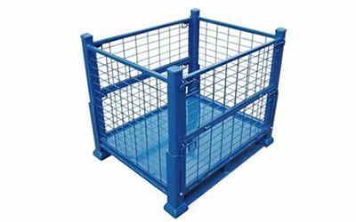 A collapsible heavy duty wire container with blue painted surface and reinforced frame.