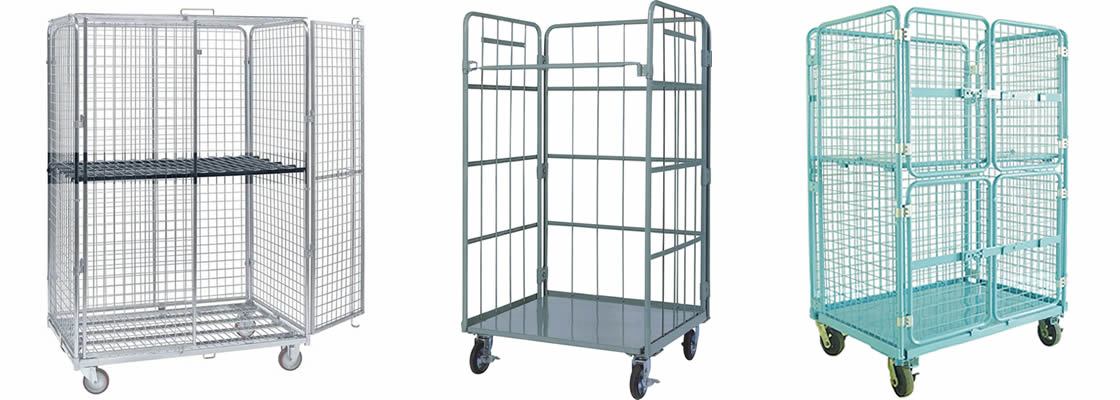 Three different kinds of logistic carts with double doors or secure options.