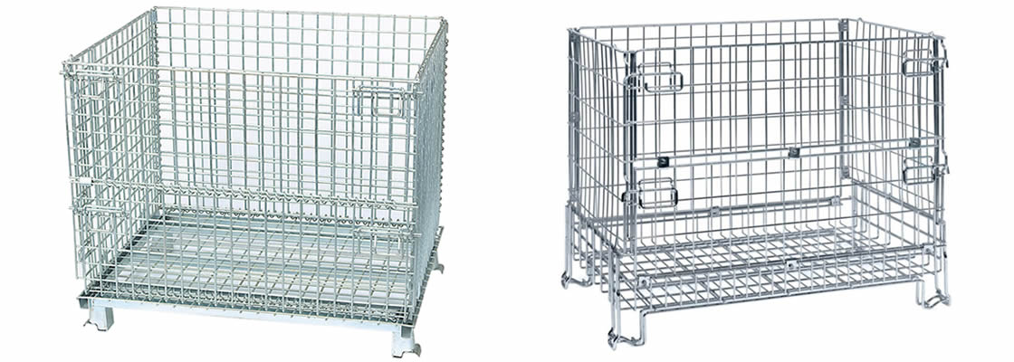 Two collapsible wire containers show the foldable structure and two kinds of feet structures.