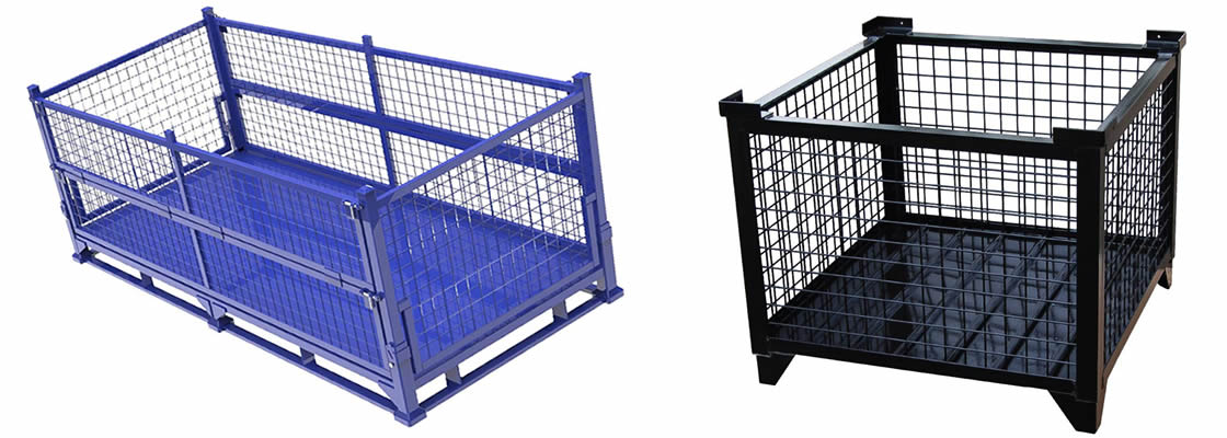 A collapsible heavy duty wire container with blue powder coated surface and a non-collapsible heavy duty wire container with black powder coated surface.