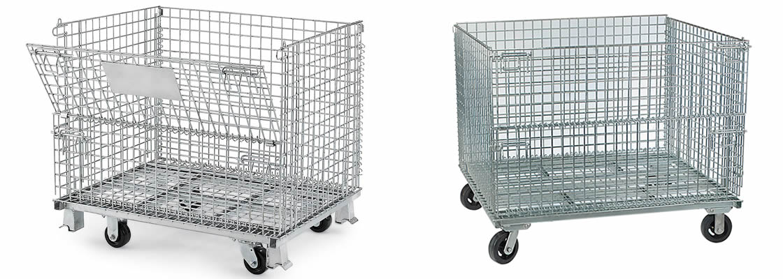 Two wire containers with black casters and they both have foldable structure.