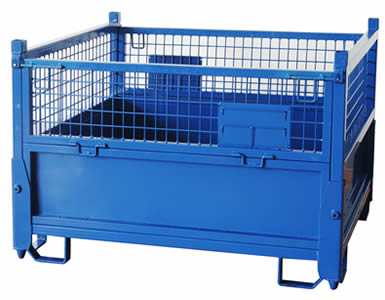 A non-collapsible heavy duty wire container with blue painted surface and four ways access at the bottom for forklift.