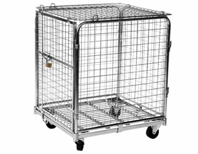 A junior size lockable wire container with galvanized surface, four black casters and a padlocked gate.