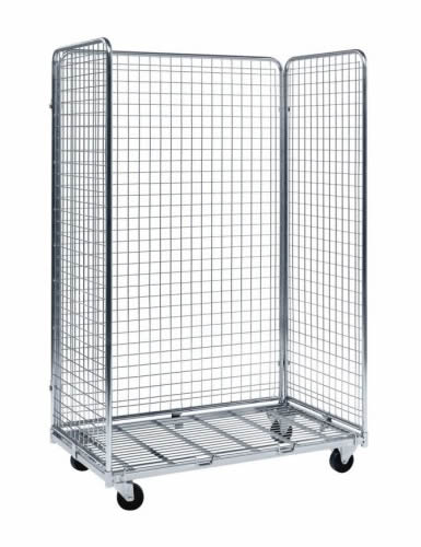 A standard logistic cart with galvanized surface and four black rubber casters, and it has 3 sides with the gate opened.