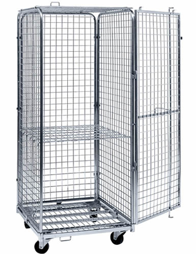 A medium size lockable wire container with galvanized surface, four black casters and a shelf in the middle part of the wire container.