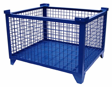 A heavy duty wire container with blue painted surface, and the body are wire meshes except the steel plate bottom.