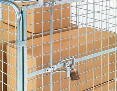 The picture shows the detail of a padlocked wire container gate, and there are some goods inside the galvanized wire container.
