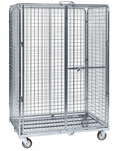A senior size lockable wire container with bright surface, four black casters and double doors.