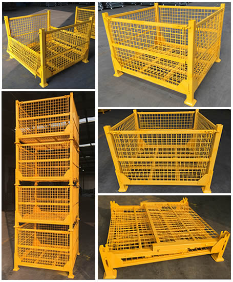Five different angles of a heavy duty wire container, shows that it can be foldable and stack 4 layers.