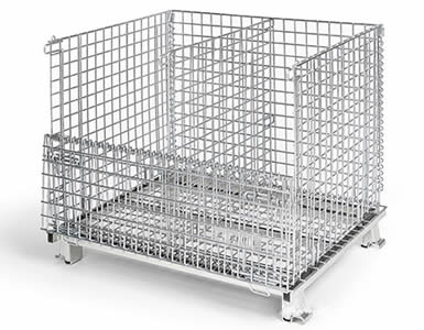 A foldable wire container with galvanized surface and is divided into two sections by a vertical divider.