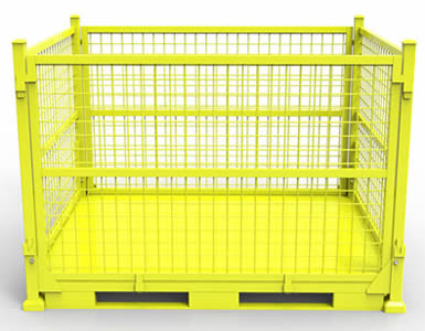 A foldable heavy duty wire container with yellow painted surface and forklift pockets at the bottom for forklift.